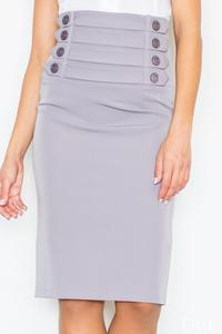 Grey Slim Fit Pencil Style High Waist Office Dress