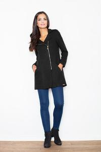 Black Short Woolen Coat with Asymetrical Zip Closure