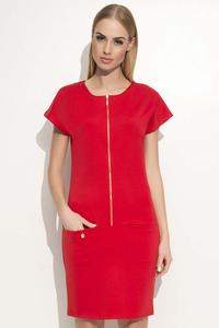 Red Casual Dress with a Zipp