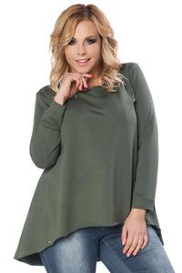 Dark Green Long Sleeves Blouse with Dipped Hem PLUS SIZE