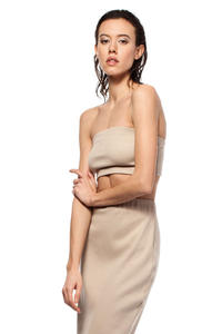 Beige Bandeau Tube Top with Elasticized Trim