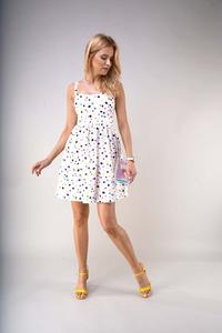 Flared Summer Dress with Braces - Colorful Spots