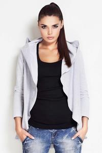 Grey Waterfall Jacket with Hood for Women