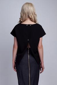 Black Short Sleeves Blouse with Unique Back