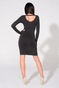 Dark Grey Bodycon Open Back Dress