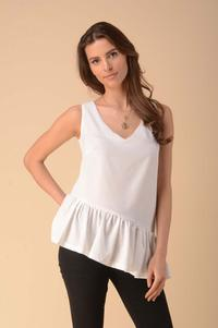 Asymmetric Top Blouse with Frill - Ecru