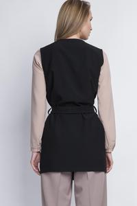 Black Stylish Ladies Vest with a Belt