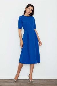 Blue Elegant Short Sleeves Midi Dress