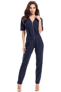 Dark Blue Zipper Closure Ladies Jumpsuit