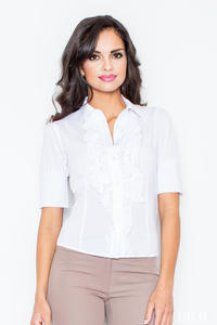 White Vintage Collared Blouse with Ruffled Details and Wide Cuffs