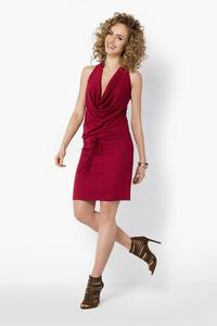 Dark Red Knee Length Wrinkled Dress