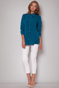 Straight Cut Work Sky Blue Shirt with Side Slits
