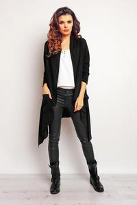 Black Asymetrical Loose Lapels Cardigan