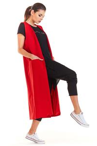 Red Long Knitted Vest with Pockets