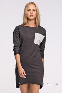 Dark Grey Asymmetrical Casual Dress with Contrasting Pocket