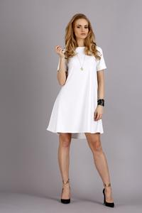 White Short Sleeves Flared Knee Lenght Dress