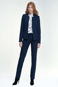 Dark Blue Elegant Stand-up Collar Ladies Blazer