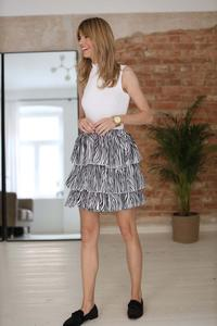 Zebra Pattern Frilled Elastic Waist Mini Skirt