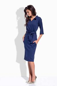 Dark Blue Pencil Midi Belted Dress