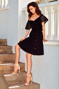 Black Cocktail Dress for One Shoulder with Mesh Frill