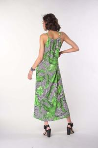 Long Summer Dress with Tied Straps - Leaves