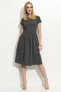 Dark Grey Short Sleeves Casual Midi Dress
