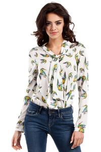 Ecru Long Sleeves Humming-bird Pattern Blouse