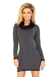 Dark Grey Mini Tourtleneck Dress with Side Pockets