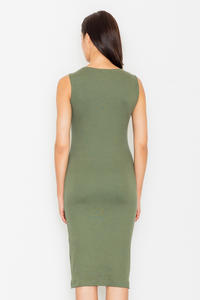 Green Bodycon Lace-up Midi Dress