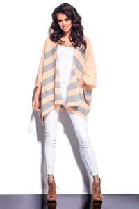 Salmon&Grey Striped Loose Cut Cardigan