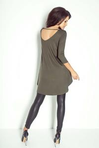Khaki Dipped Hem Open Back Tunic