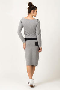 Light Grey and Navy Blue Fitted Sport Style Skirt