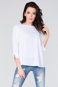 White Wrap Back 3/4 Sleeves Blouse