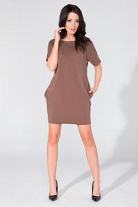 Brown Simple Mini Dress with Side Pockets