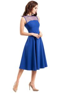 Cornflower Blue Evening Dress with Transparent Neckline