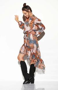 Airy Asymmetrical Dress With Frills in Pattern Print 11