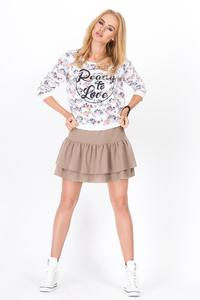 Cappuccino Two Layers Frilled Mini Skirt