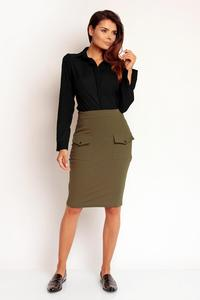 Khaki Slim High Waist Front Pockets Skirt