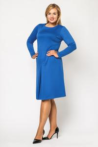 Blue Double Fold Knee Length Dress PLUS SIZE