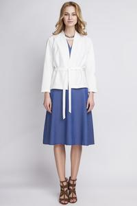 White Stylish Self Tie Belt Blazer
