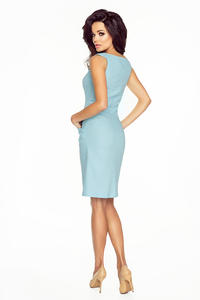 Blue Simple Sleeveless Dress with Pockets