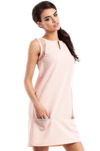 Pink Sleeveless Transparent Details Mini Dress