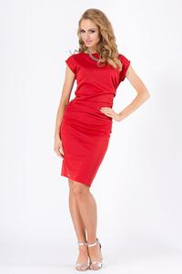 Red Wrinkled Knee Lenght Short Sleeves Dress