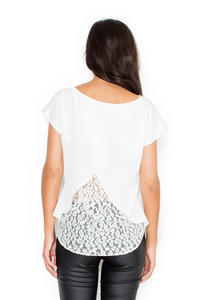 White Short Sleeves Blouse with Lace Back