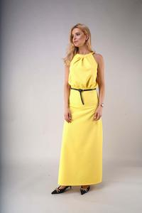 Elegant Long Dress with a Cut-Out on the Back - Yellow
