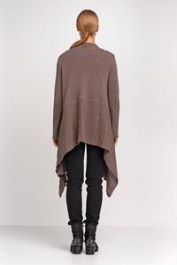 Cappuccino Long Cardigan with Asymmetrical Lapels