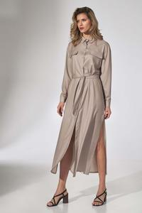 Beige Button Closure Belted Midi Dress