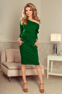 Green Dress for Everyday with a Neckline on the Back
