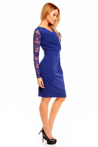 Blue Elegant Lace Sleeves Slim Waist Evening Dress