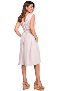 Beige Flared Dress with Envelope Neckline on the Back